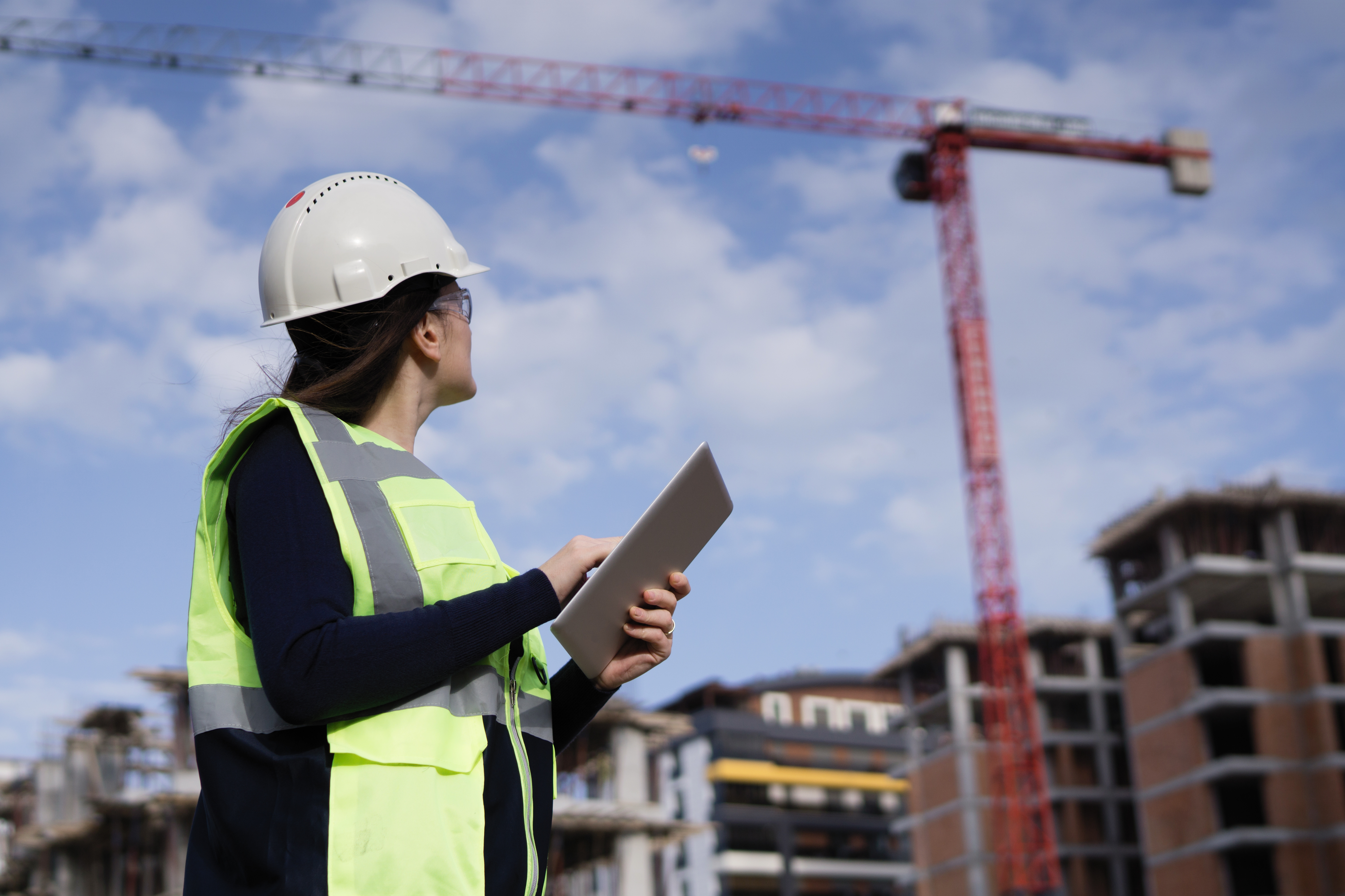 Female project manager at construction site